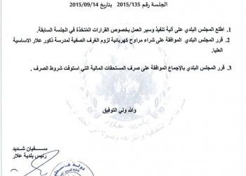 قرارات المجلس البلدي - جلسة 2015/135 بتاريخ 2015/09/14