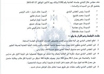 قرارات جلسة المجلس البلدي 2015/128 بتاريخ 27/7/2015