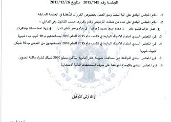 قرارات جلسة المجلس البلدي رقم 149-2015