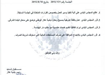قرارات جلسة المجلس البلدي رقم 2015/131 بتاريخ 2015/8/18