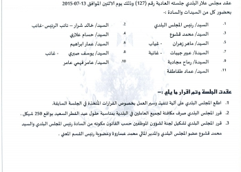 قرارات جلسة المجلس البلدي رقم 127/2015 (13/7/2015)