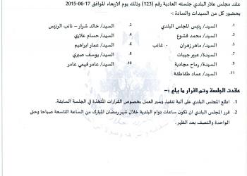 قرارات جلسة المجلس البلدي رقم 123/2015