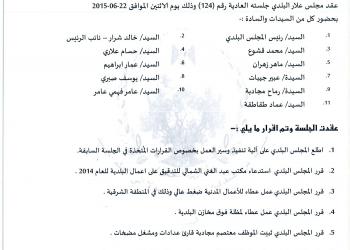 قرارات جلسة المجلس البلدي رقم 124/2015 (22/6/2015)