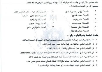 قرارات جلسة المجلس البلدي رقم 125/2015 (29/6/2015)